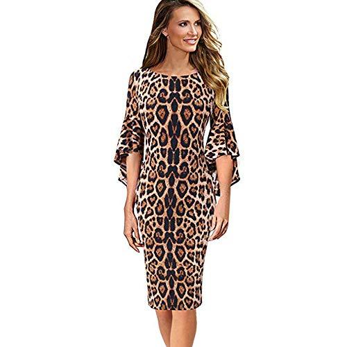 Longra Damen Kleider Leopard Print Business Kleider 3/4 Arm Bleistiftkleid Etuikleid Knielang Retro...