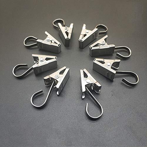 Coideal - Juego de 100 clips de cortina de ducha de acero inoxidable con cadena de gancho para luces de fiesta, para fotos, dormitorio, baño, decoración del hogar, exhibición de arte (plateado)