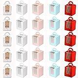 HoufuJC 25 Piezas Caja para Tartas con Ventana, Portátil Cupcake Cajas Contenedores, con Inserto y Asas y Ventana de Exhibición de PVC, para Bodas, Fiestas de Cumpleaños (5 Colores)