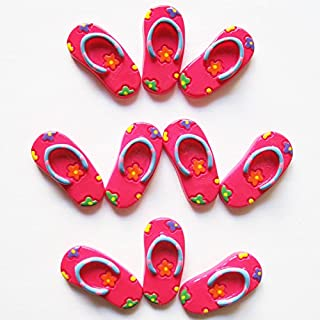 417d9f6c2 wholesale 10pcs Summer Beach Hot Pink Flip Flop Flower Flatback Resin  Scrapbooking Cabochons DIY Hair Bow