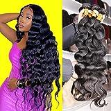 Eiazalin 10A Body Wave Bundles Human Hair 4 Bundles 20'18'16'14' Unprocessed 100% Brazilian Virgin Hair Weave Bundles Human Hair Bundles Remy Human Hair Extensions