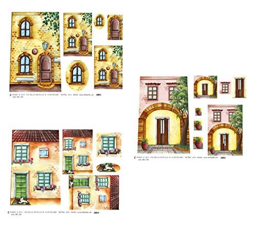 Hobby e Blu Carta Riso Collezione Coppi, 3 Fogli da 43x30 cm