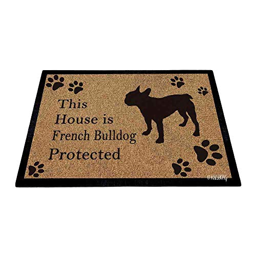 MALIHONG Dog Silhouette DoorFloor Mat This House is French Bulldog Protected Floor Mat Dog Paw Print Vintage Rugs for Home Decor 23.6 x 15.7 Inch