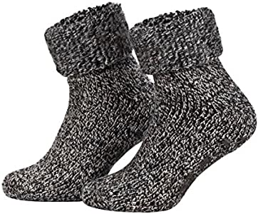 Piarini - Par de calcetines mullidos - Ideales para invierno - Lana y ABS - Antracita jaspeado - 35-38