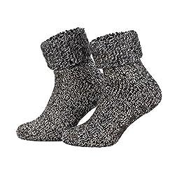 Piarini ABS Stop Socks Wool Socks Winter Socks Norwegian Socks Inner Terry Women Men Boys Girls anthracite-mottled 43-46
