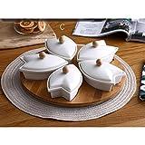 PATRICK Set di Rotazione Lazy Susan Dip Piatto da Portata Girevole in bambù con 5 Ciotole per Piatti in Ceramica Ideale per Dips,Antipasti e Spuntini Antipastiera Spicchi di Sole in Porcellana Bianca
