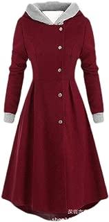 Macondoo Women Casual Long Sleeve Hoodies Single Breasted Jacket Trench Coat Dresses