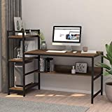 Dripex Computer Desk with 4 Tier Storage Shelves - 41.7'' Student Study Table with Bookshelf Modern...