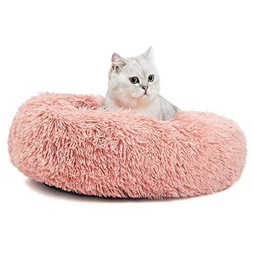 ANWA Donut Haustierbett für Katzen und Kleine Hunde, rundes Katzenbett waschbar Flauschiges Hundebett, Plüsch Katzenkissen Katzen Bett Größe in 51cm Rosa