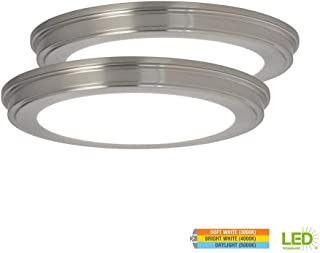Commercial Electric 13 in. 24-Watt Brushed Nickel Color Changing LED Ceiling Flush Mount with White Acrylic Lens (2-Pack)