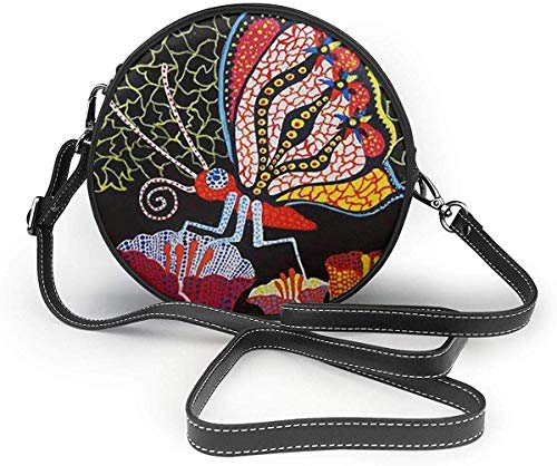 Bolso redondo mujer Avant Garde Art Insect Women Fashion Cute Zipper Circle Purses Crossbody Bags Sling Bag