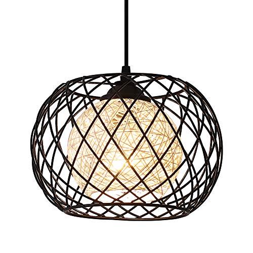 Lámpara Colgante Vintage de Metal,WOWEWA Lámpara de Techo Interior Iluminación Araña de Suspensión Industrial Colgante de Luz E27 para Dormitorio Loft Restaurante Coffee Bar, Negro