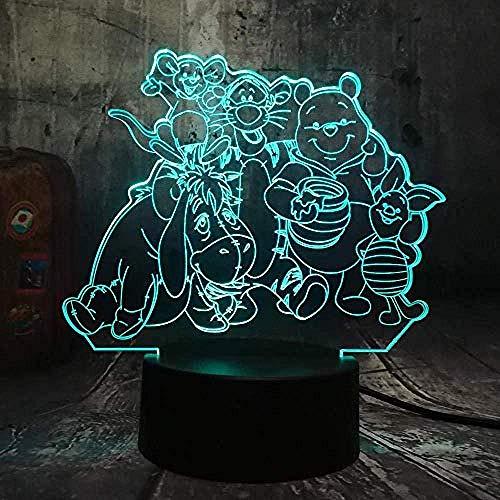 3D Illusion Lampe Winnie Puuh Muster Acryl Nachtlicht 16 Farben Ändern Mit Fernbedienung Und Smart Touch Kreative Tischlampe Stimmungslicht Besten Geschenke Für Kinder