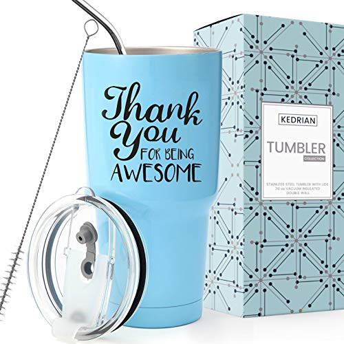 KEDRIAN Thank You For Being Awesome Tumbler 30oz, Perfect Thank You Gifts For Friends, Teacher, Boss, Coworker, Appreciation Gifts For Christmas, Birthday, Unisex Stainless Steel Insulated Tumbler
