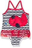 Wippette Girls Baby Whale Print One Piece Swimsuit with Mesh, Navy, 24M