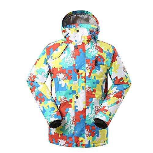 GSOU SNOW Homme Coupe-vent Capuche Rembourré Manteau Imperméable Respirant Outdoor Sport d'hiver Veste de ski snowboard (Medium, Rouge002)