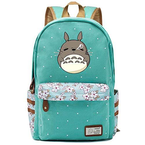 Double Villages Anime My Neighbor Totoro Cosplay Daypack Bookbag College Tasche Rucksack Schultasche (Grün 2)