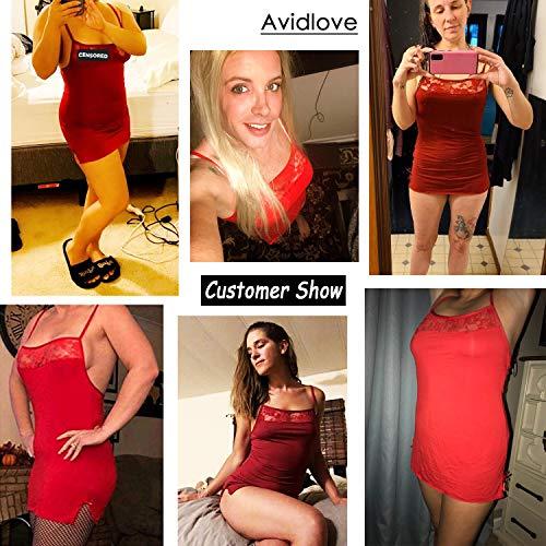 Avidlove Sexy Sleepwear for Women Lace Chemise Babydoll Halter Straps Lingerie Slip Dress Red S
