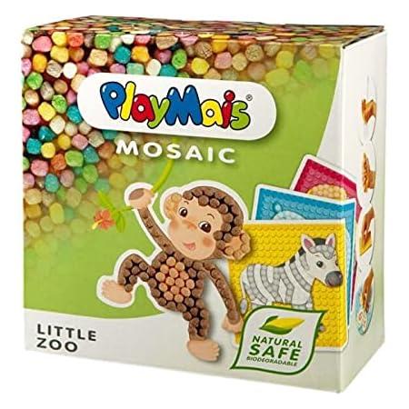 PlayMais Mosaic Petit kit de Bricolage créatif pour Filles et garçons à partir de 3 Ans | Plus de 2300 pièces & 6 modèles de mosaïques | stimule la créativité et la motricité (Little Zoo)