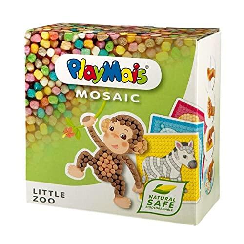 PlayMais Mosaic Little Zoo Kreativ-Set zum Basteln für Kinder ab 3 Jahren | Über 2.300 Stück & 6 Mosaik Klebebilder mit Zootieren | Fördert Kreativität & Feinmotorik | Natürliches Spielzeug