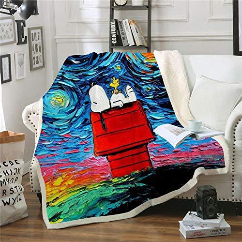 BLAMARIA Mantas para Cama Dibujos Animados Anime Snoopy Pattern Sherpa Flannel Throw Blanket Adultos Niños Warm Leisure Couch Chair Soft Fluffy Blanket (B) 150 * 200 CM