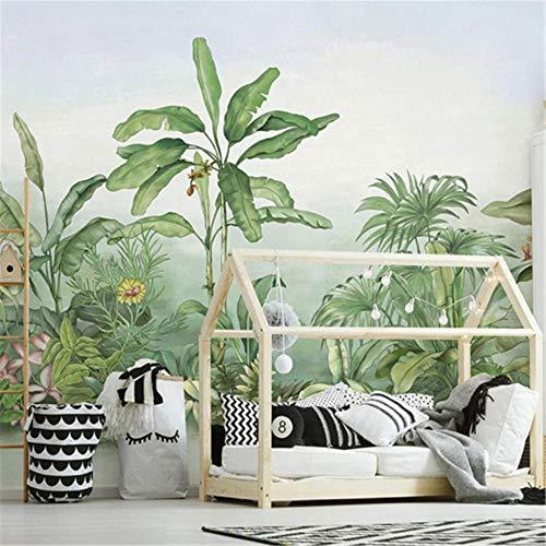 Mural Fotomural Papel Pintadopapel Tapiz Mural Personalizado 3D Planta Pintada A Mano Árbol De Plátano Planta De Selva Tropical Fresco Sala De Estar Dormitorio Decoración Del Hogar Tapety-Aproximadam