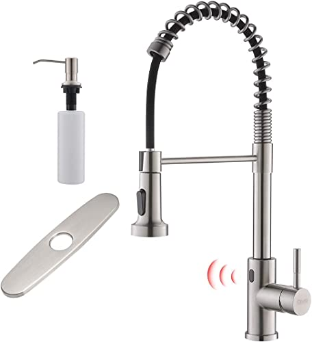wholesale GIMILI popular Touchless Spring new arrival Kitchen Faucet with Deck Plate & Soap Dispenser,Brushed Nickel outlet online sale