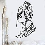 Boceto etiqueta de la pared hermosa mujer moda arte vinilo etiqueta de la ventana salón de belleza niña dormitorio decoración de interiores