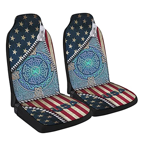 Universal Car Seat Cover,Celtic Knots Geometric Style Tribal Pattern Front Seat Covers Fit Most Vehicle Cars Truck SUV 2Piece