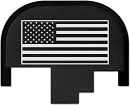 Bastion rear slide cover plate for Smith & Wesson S&W M&P 9mm .40 40 cal .357 45 acp full size and compact only, butt plate laser engraved - USA Flag