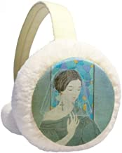 Blue Beauty White Yarn Chinese Painting Winter Earmuffs Ear Warmers Faux Fur Foldable Plush Outdoor Gift