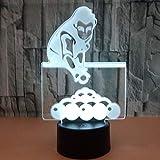 Billar luz táctil control remoto regalo para el hogar lámpara de mesa pequeña 3D LED lámpara de mesa pequeña interfaz USB luz de control remoto táctil luz de noche colorida