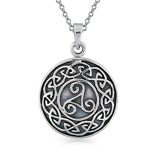 Viking Round Medallion Celtic Triskele Triquetra Trinity Knot Pendant Necklace For Men For Women 925 Sterling Silver