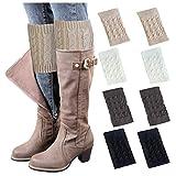 Loritta 4 Pairs Womens Boot Socks Winter Warm Crochet Knitted Boot Cuffs Topper Socks Short Leg Warmers Gifts,Style 08