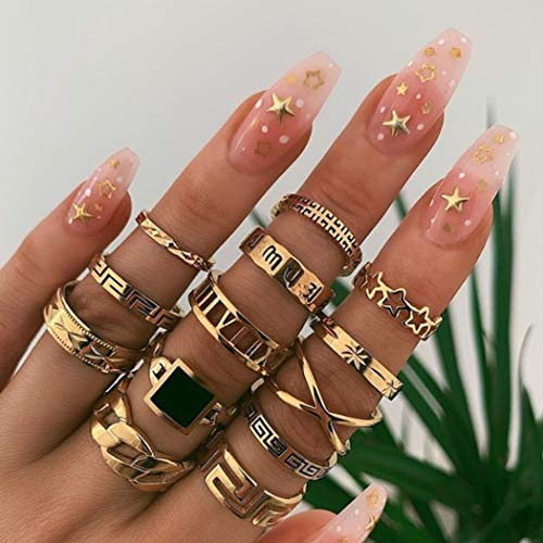 Aukmla Boho Knuckle Rings Set Gold Stackable Finger Rings Midi Size Joint Knuckle Rings Hand Accessories for Women and Girls 13PCS