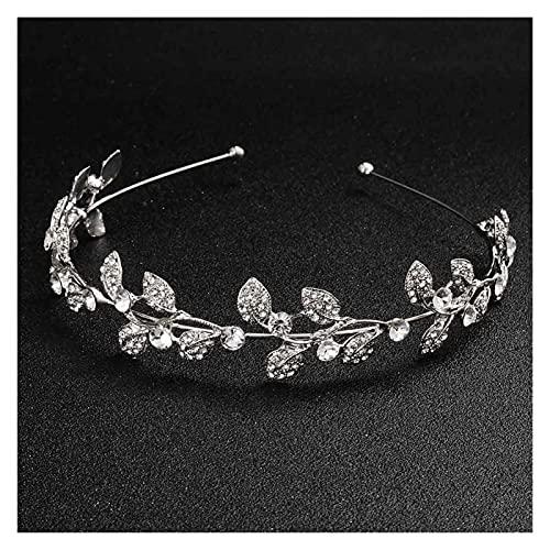 feichang Corona de perlas brillantes, estilo vintage, para novia, tiaras, bodas, accesorios, fiestas, hojas (color metal: plateado).