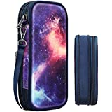 Expandable Pencil Case, FINPAC Large Storage Foldable Pen Pouch Box Organizer Bag for Teen Girls Boys Kids Office School Students, Galaxy