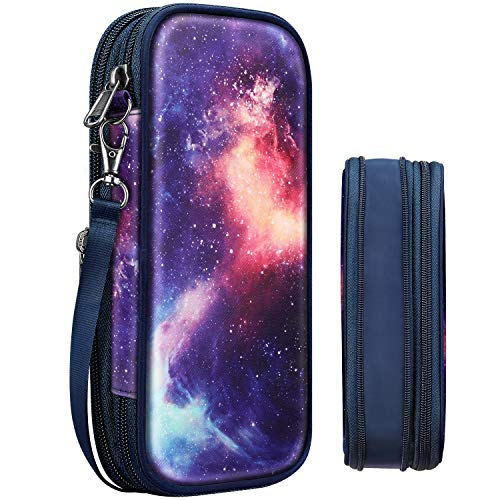 Expandable Pencil Pouch, FINPAC Large Storage Foldable Pen Case Box Organizer Bag for Teen Girls Kids Office School Students, Galaxy