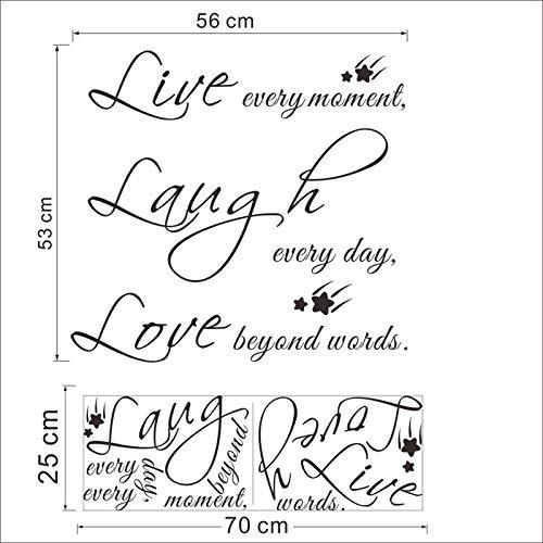 stickers muraux Live Laugh Love Décoration de la maison Inspiration Chambre Stickers Pvc Imprimer Lettres Murale Art