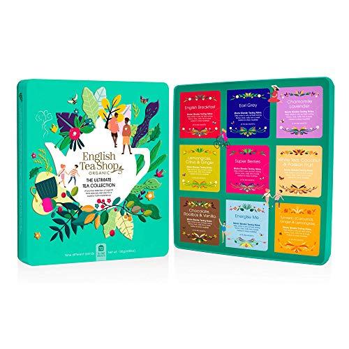 DEU English Tea Shop Selezione di tè biologici e tisane in Latta di Metallo Verde Acqua - 1 x 72 bustine di tè (136 grammi)