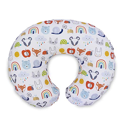 Boppy Original Pillow Cover, Colorful Animals & Rainbows, Cotton Blend Fabric with Allover Fashion