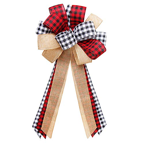 Christmas Tree Topper,3013 Inches Red Black Buffalo Plaid Burlap Large Bow Topper with Streamer for Xmas HolidayParty Home Dector (Black Red, One Size)