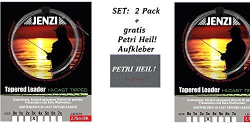 Jenzi Set: 2 Pack Tapered Leader- Fliegenvorfach 3X/0,20/0,40 + Gratis Petri Heil! Aufkleber