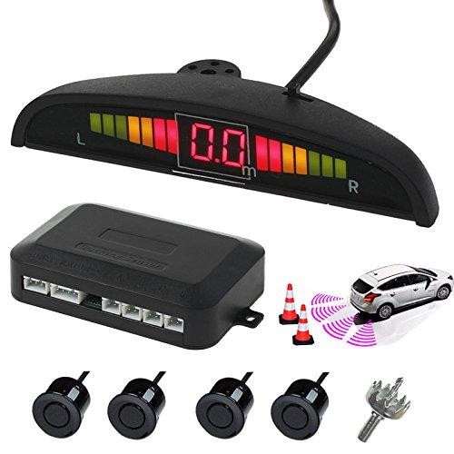 AUTOUTLET Sensores de Aparcamiento, Sistema de Sensor de Estacionamiento, Asistencia de Aparcamiento Kit de Auto LED Display + Alarma de Sonido, Cocar Coche Aparcamiento Kit con 4 Sensores Negros