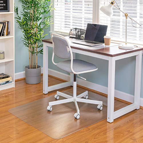"Ilyapa Office Chair Mat with Lip for Hard Floors 36"" x 48"" Heavy Duty Clear, PVC Chair Mat for Hardwood and Tile Floors, Protective Floor Mat for Home or Office"