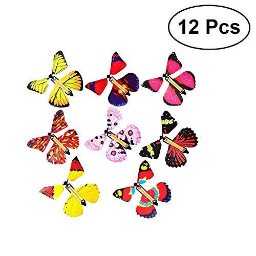 Uteruik Magic Flying Butterfly in het boek Fairy Rubber Band Powered Wind Up Butterfly Toy Grote verrassing voor bruiloft en verjaardag geschenken, 12 stks (Random Color)
