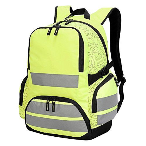 Mochila Alta Visibilidad con Bandas Reflectantes - Multibolsillos, Capacidad: 30L, 2 correas laterales ajustables - para Hombre/Mujer (Amarillo)