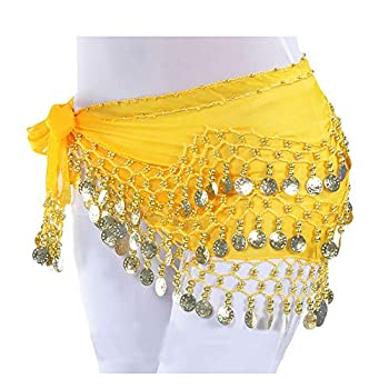 Lauthen.S 128 Coins Belly Dance Hip Scarf Tribal Belt Halloween Genie Costume Accessory Yellow