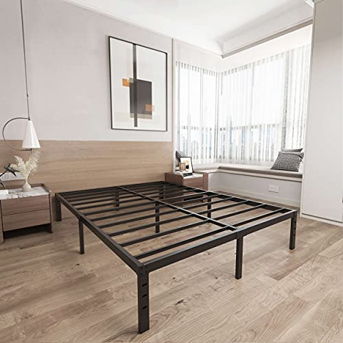 ZIYOO 14 Inches Heavy Duty Metal Bed Frame,Premium Bed Foundation,Noise Free&Anti-Slip Sturdy Double Bed Frame,Black Platform Bed No Box Springs Needed,1200lbs Weight Capacity Limited(California King)