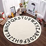 ABC Kids Round Rug,4ft Cream Alphabet Cotton Throw Area Rug with Tassels Soft Educational Washable Carpet Nursery Teepee Tent Play Mat for Toddler Room Bedroom Living Room